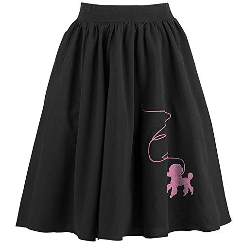 (Kimring Women's Vintage Embroidered High Waisted A Line Flared Pleated Skater Full Midi Skirt with Pockets Black Large)