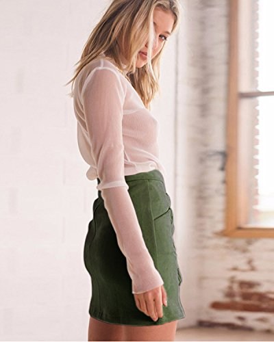 Jupe en Skirt Arme Jupe Bandage Minetom Mini Daim Haute Casual Crayon A Femme Taille verte Ligne Jupe Uw6Aqd