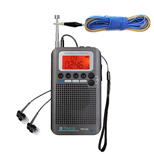 Retekess TR105 Air Band Radio Receiver Portable FM AM SW VHF Full Band Radio CB Receiver Digital Alarm Speaker with Extend Antenna LCD Display
