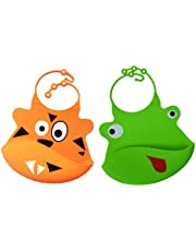 Set of 2 | Cute Waterproof Silicone Baby Bibs for Babies & Toddlers | Soft | Non Messy | Easy 2 Clean | Cartoon Bib