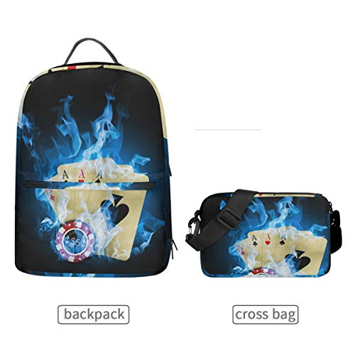 (DEZIRO Casino Poker Blue Fire Bookbag with Cross Bag Set Backpacks)
