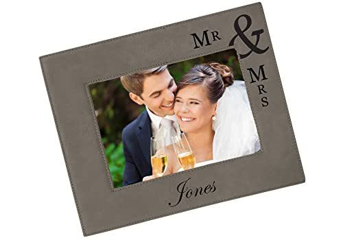 Amazon Custom Engraved Vegan Leather Picture Frame Wedding