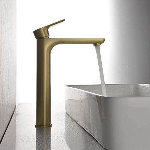 S-TING 蛇口 バスルームのシンクは、ステージの洗面台浴室の蛇口クリエイティブにスロット付き浴室の洗面台のシンクホットコールドタップミキサー流域の真鍮のシンクのすべての銅冷温水ブラッシュドゴールド流域の蛇口をタップ 水栓金具 立体水栓 万能水栓