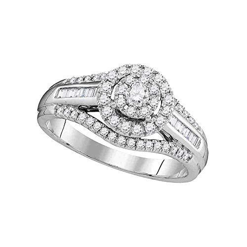 - Jewel Tie Size - 5.5-10k White Gold Round Baguette Diamond Fashion Band OR Engagement Ring Prong Set Flower Shaped Halo Ring (1/2 cttw.)