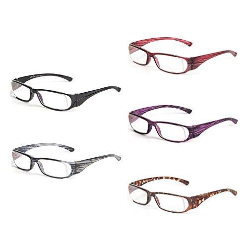 Liansan Hot Sale Brand Designer New Striped Reading Glasses Men Women Fashion Lightweight Reading Eyeglasses XL216, Magnification 2.0, 5 ()