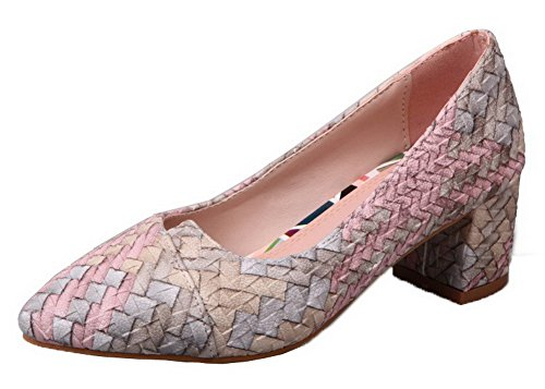 Allhqfashion Mujeres Soft Material Kitten-heels Pull-on Woven Pumps-Zapatos Pink