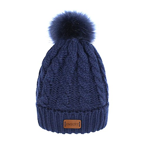 Knit Hat Navy Womens - OMECHY Women's Winter Knit Hat Trendy Slouchy Beanie with Warm Fleece Lining Skull Chunky Soft Thick Cable Ski Cap, Navy Blue