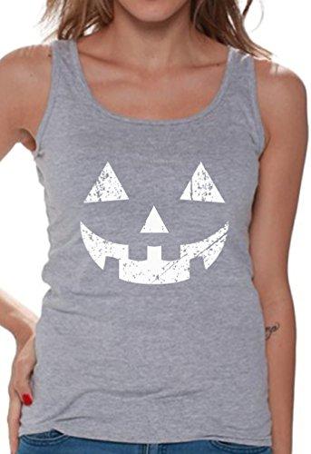 Awkward Styles Women's Jack O' Halloween Pumpkin Tank Tops for Women Halloween Easy Costume Idea Grey XL ()