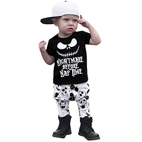 Fiaya Halloween Outfits Toddler Infant Baby Boys 2-Piece Letter Cartoon Print Tops +Pants Outfits Set | NB-3T (Black, 18-24 Months)]()
