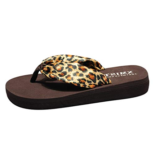 SMALLE_Shoes Platform Flip-Flops for Women,Summer Sexy Flip Flops Leopard High Platform Wedge Thong Slippers Sandals Brown