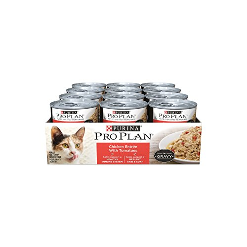 Purina Pro Plan Wet Cat Food, Savor, Adult Chicken Entrée with Tomatoes, 3-Ounce Can, Pack of  24