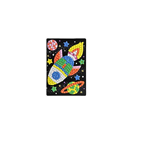 Crystal Puzzle Mini Memory Game Puzzle Toy 3D DIY Puzzle Toys Colors Crystal Diamonds Foam Mosaics Sticky Art Cartoon Game Craft Art Sticker Kids Education Toys(Spaceship)