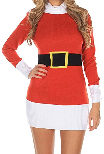 Women Basic Loose Long Sleeve Knit Father Christmas Xmas SweaterFleece Sweatshirt Pullover Jumper Red M]()