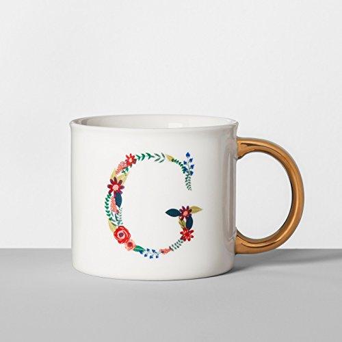 Opalhouse Monogrammed Porcelain Floral Mug 16oz White/Gold (G)