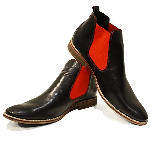 On Mens Leather Red Lamano Cowhide Italian Modello PeppeShoes Chelsea Handmade Leather Smooth Ankle Boots Slip ZgWnxZ6wq