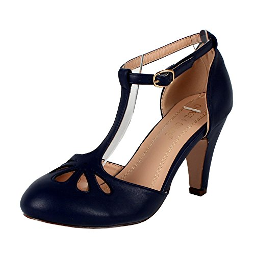 Chase & Chloe Kimmy-36 Women's Teardrop Cut Out T-Strap Mid Heel Dress Pumps,Navy,7 ()