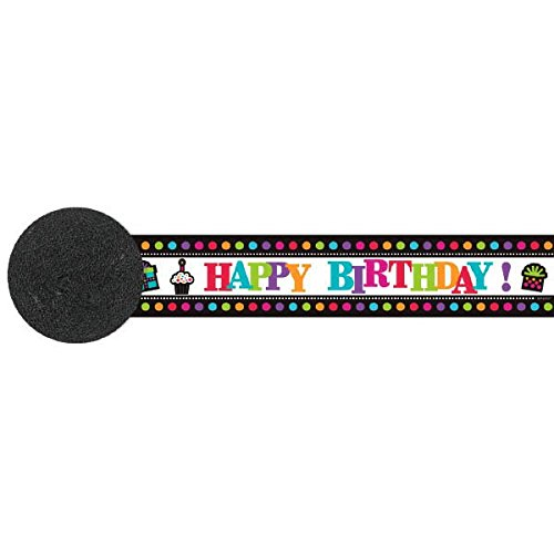 Amscan Happy Birthday Rainbow Polka Dotted Crepe Streamers, Black/White/Multicolored, 30' ()