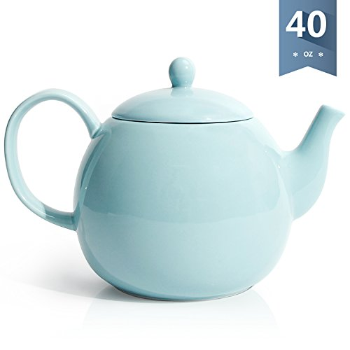 Sweese 2311 Porcelain Teapot, 40 Ounce Tea Pot - Large Enough for 5 Cups, Turquoise