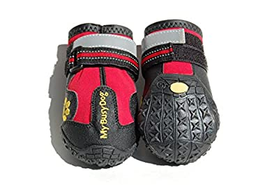 Waterproof Dog Shoes with Reflective Velcro and Rugged Anti-Slip Sole (Sizes 1-8, Red)