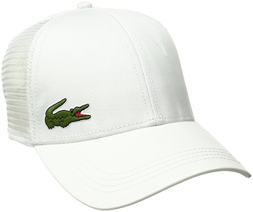 Lacoste Men's Sport Gabardine and Mesh Tennis Cap, White, One Size (Lacoste Hats For Men)