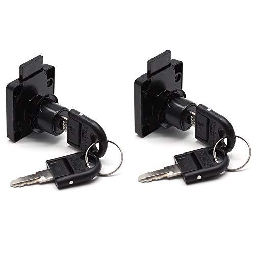 LICTOP 2 Pack Tool Box File Cabinet Desk Drawer Lock Cylinder Cam Furniture Office Deadbolt Security Lock with 4 Keys (Black)