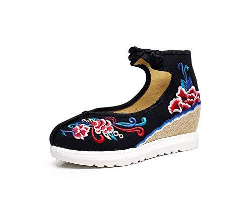 Lino Eeayyygch Tamaño Aumentados Estilo 37 Tendón Negro Informal Étnico Bordados Suela De color Cómodo Zapatos Moda Femeninos SrBwrqaE
