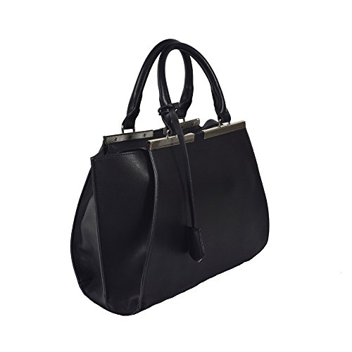 'faya' Runway Inspired Black Top Handle Handbag By Inzi In-6721