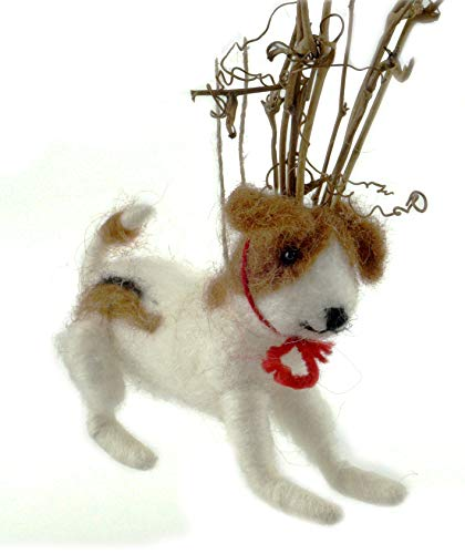Creative Co-op Grinch Puppy Dog with Reindeer Antlers Wool Felt Hanging ()