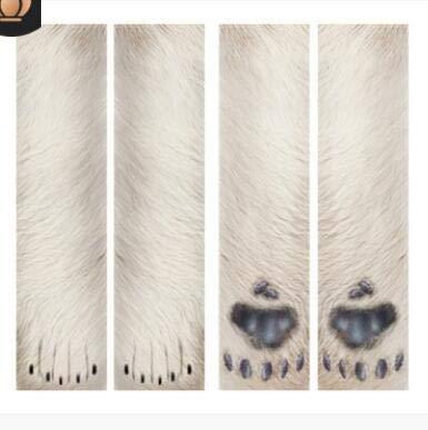 Eurobuy Animal Paw Socks 3D Print Animal Foot Hoof Paw Feet Crew Socks Adult Digital Simulation Socks Unisex Tiger Dog Cat Sock (Polar Bear) ()