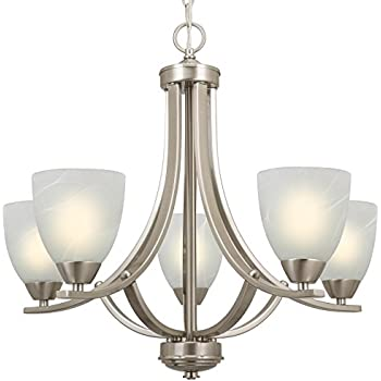 brushed nickel chandelier with clear glass 5 light white fabric shades modern this item revel large