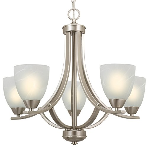 Contemporary 5-Light Large Chandelier + Alabaster Glass Shades, Adjustable Chain, Brushed Nickel Finish ()