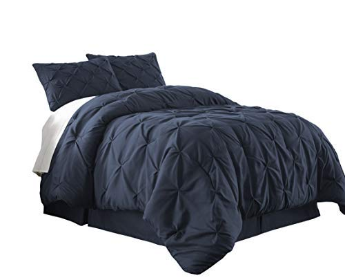 Bed Full Ensemble (Chezmoi Collection Berlin 3-Piece Pintuck Pinch Pleat Comforter Set (Full, Navy))