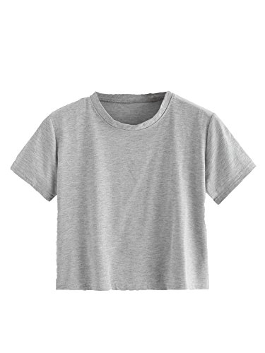 - SweatyRocks Women's Short Sleeve Crew Neck Solid Basic Crop T-Shirt Grey Large