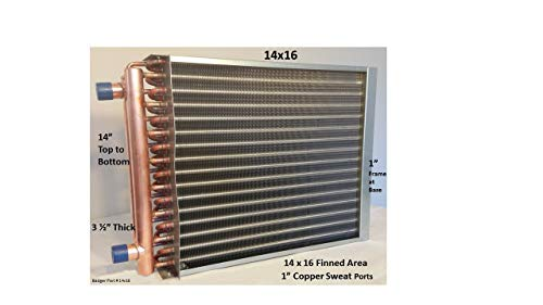 """20x19 Water to Air Heat Exchanger~~1/"""" Copper Ports"""
