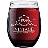 1959 60th Birthday Gifts for Women and Men Wine Glass   Funny Vintage...