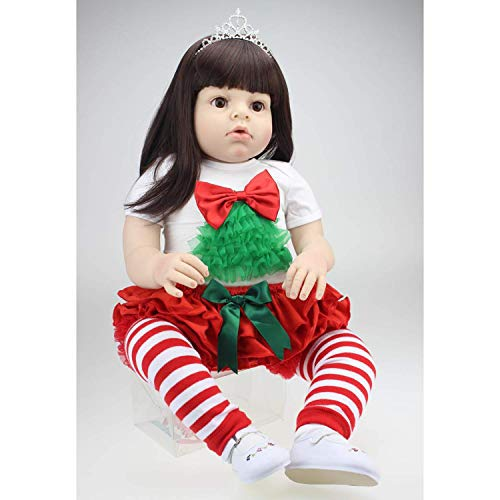 Price comparison product image ankt777 28 Inch 70cm Soft Silicone Babies Dolls Black Long Hair Reborn Baby Girl Realistic Looking Real Newborn Doll Toddler Toy for Kid Birthday Present
