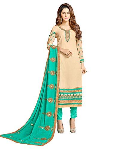 (SB Fashion Ready to Wear Designer Cream Colored Georgette Embroidered Salwar Suit. (Cream,)