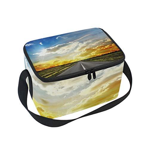 (Lunch Bag Road Across Steppe Sunset Clouds Landscape Cooler for Picnic Shoulder Strap Lunchbox)