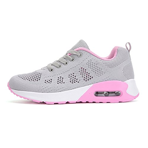 Freizeit Damen LanFengeu Hohl Turnschuhe Laufschuhe Profilsohle Atmungsaktiv Grau Anti pink Air Luftpolster Rutsche Sommer qUUvfZn