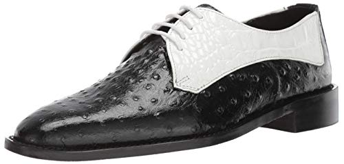 STACY ADAMS Men's Russo Ostrich Print Lace-Up Oxford, Black/White, 13 M US (Ons Ostrich Slip)