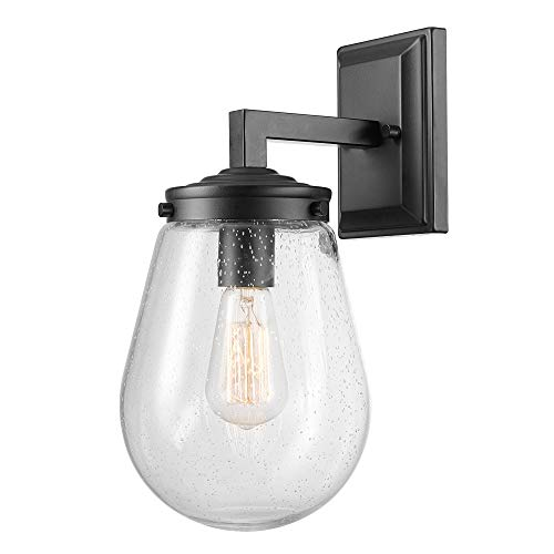 Globe Electric Winston 1-Light Outdoor/Indoor Wall Sconce, Matte Black, Clear Seeded Teardrop Glass Shade 44302
