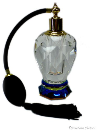 ut Lead Crystal Perfume Bottle With with Black/ Atomizer (Black Hand Cut Crystal)