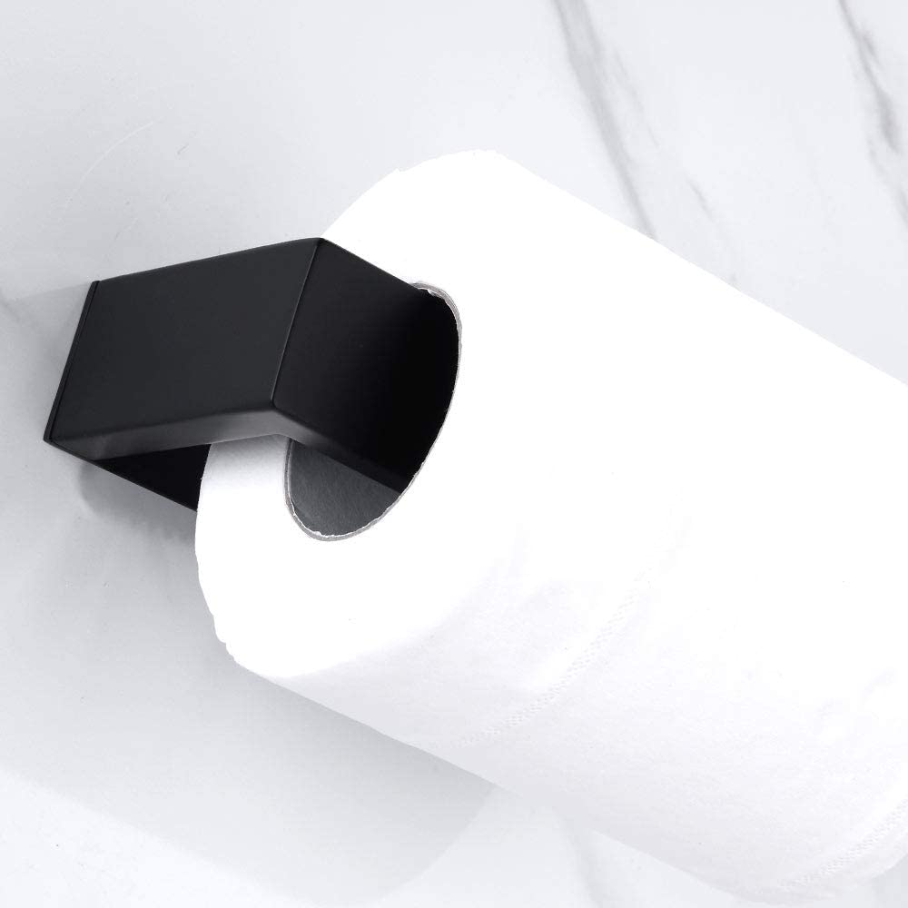 Homovater Selbstklebend Schwarz Toilettenpapierhalter Wandhalter f/ür Badezimmer WC Papierhalter Hochwertiger K/üchenrollenhalter aus 304 Edelstahl ohne Bohren.