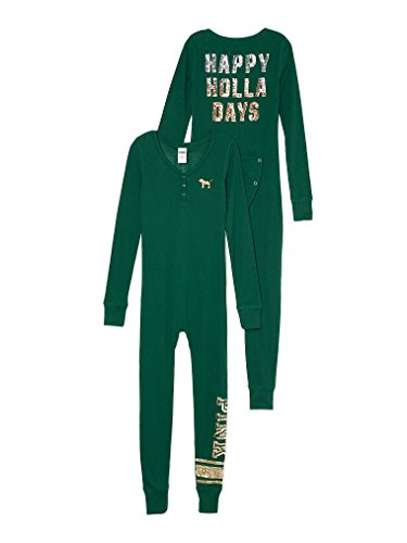 Victorias Secret Long Jane Onesie Pajama Green Sequin Bling Small