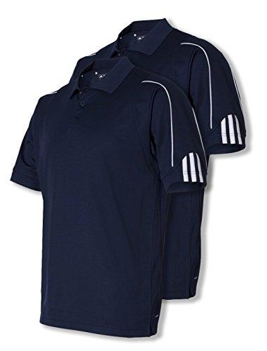 Adidas Golf A76 Men's ClimaLite 3-Stripes Cuff Polo, Navy /