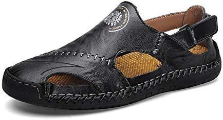 手作りの革のサンダル、男性の夏のビーチシューズ、柔らかく快適な滑り止めの靴、夏の旅行に最適,黒,38