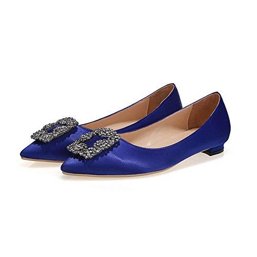 Amoonyfashion Womens Pointu Fermé Orteil Tirer Sur La Soie Solides Pointes Stilettos Pompes Chaussures Darkblue