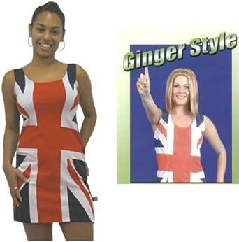 Vestido de Bandera Británica y Peluca de Ginger Spice Girl: Amazon ...