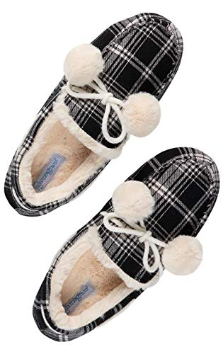 PajamaGram Moccasin Womens Slippers Warm - Ladies Slippers, Black Plaid, 7-8 from PajamaGram