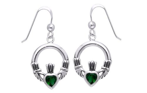 Jewelry Trends Sterling Silver Celtic Claddagh Dark Green Glass Dangle ()